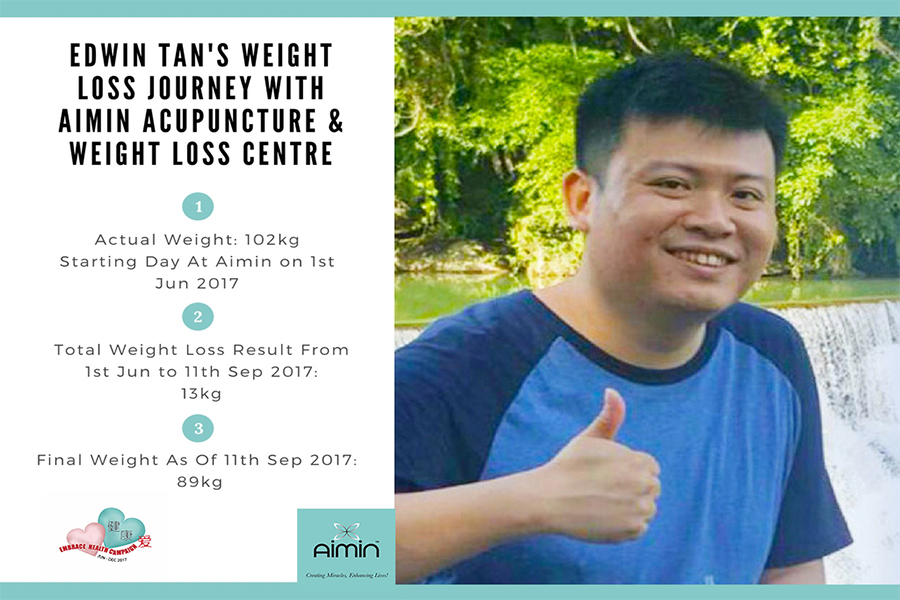 Edwin Tan's Weight Loss Journey With Aimin Acupuncture & Weight Loss Centre